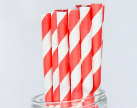 Coral Stripes Paper Straws-POPALOONPARTY