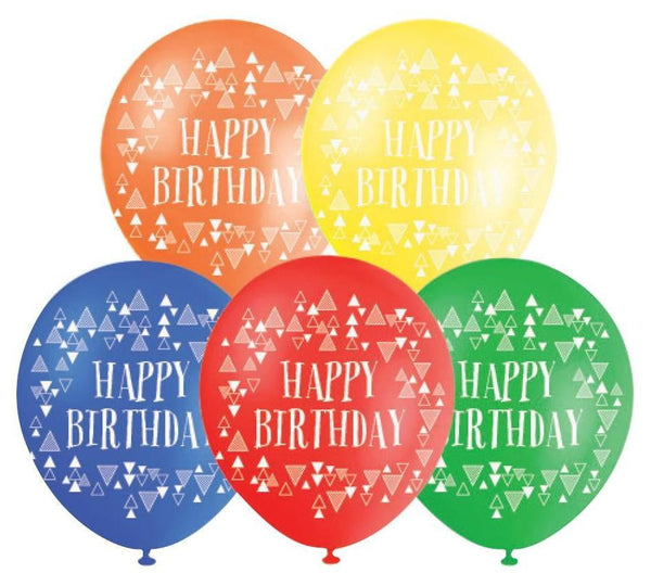 BALLOONS PRINTED HAPPY B'DAY ‐10pcs-POPALOONPARTY