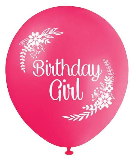 BALLOONS PRINTED B'DAY GIRL ‐10pcs-POPALOONPARTY