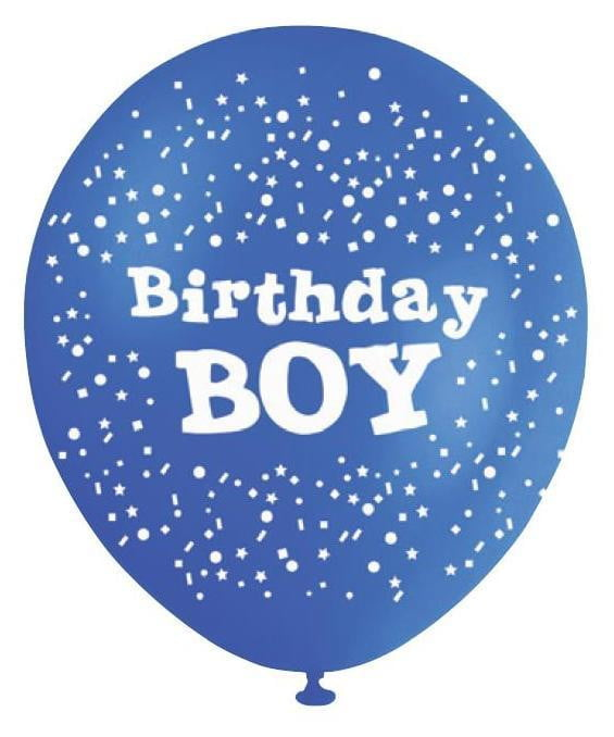 BALLOONS PRINTED B'DAY BOY‐10pcs-POPALOONPARTY