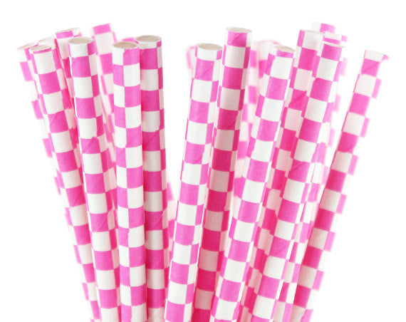 Pink Checked White Straws-POPALOONPARTY