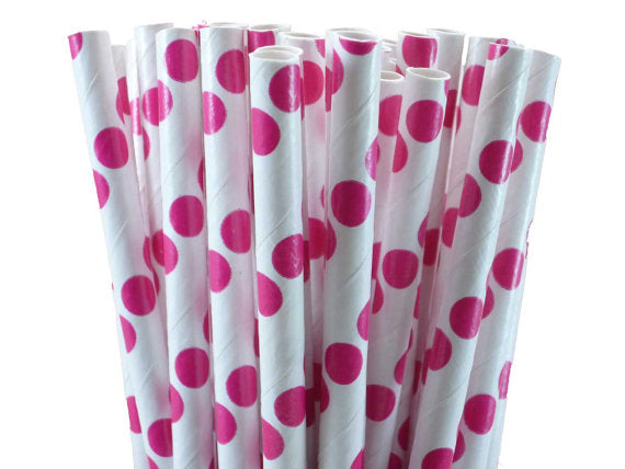 Pink Polka Dots White Straw-POPALOONPARTY