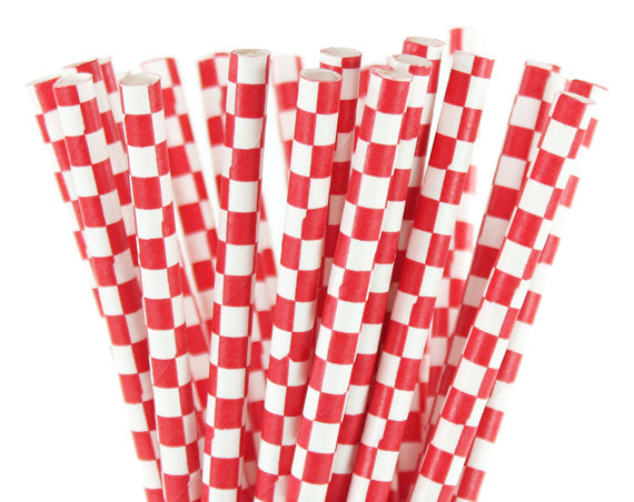 Red Checked White Straws-POPALOONPARTY