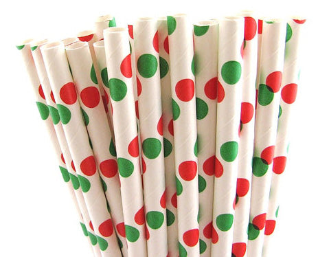 Red Green Dot White Straw-POPALOONPARTY
