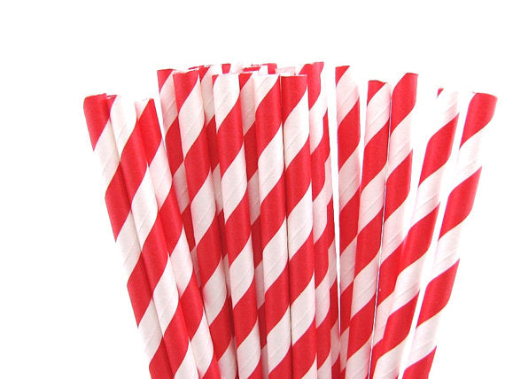 Red Stripes Paper Straws-POPALOONPARTY