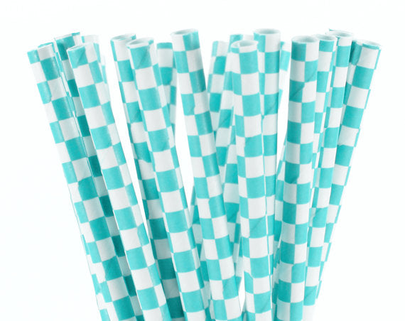 Teal Checked White Straws-POPALOONPARTY