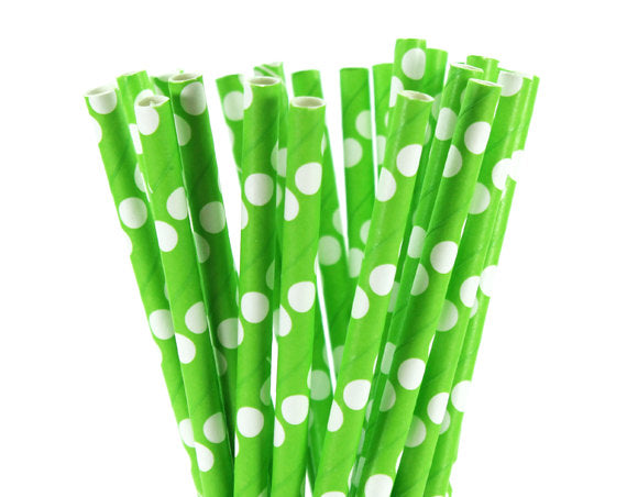 White Polka Dot Green Straw Paper Straws-POPALOONPARTY