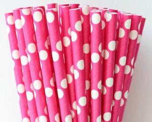 White Polka Dots Hot Pink Straw-POPALOONPARTY