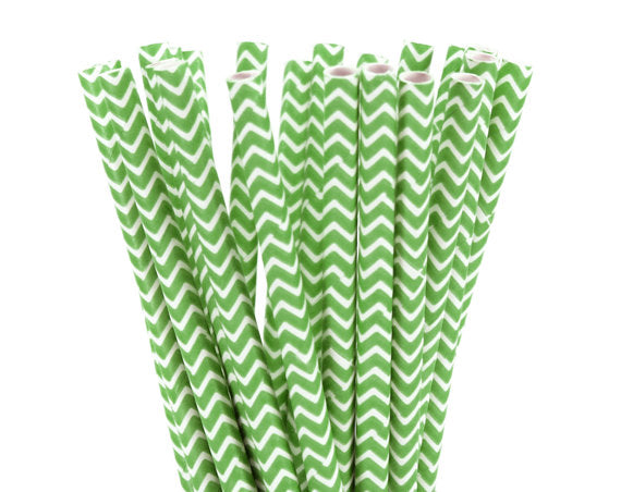 White ZigZag Lime Green-POPALOONPARTY