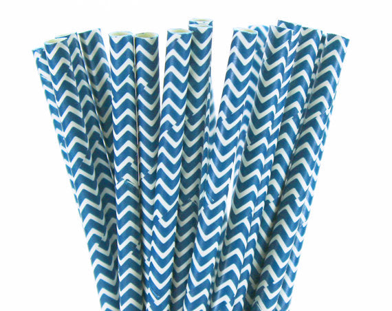 White ZigZag Navy Straws-POPALOONPARTY