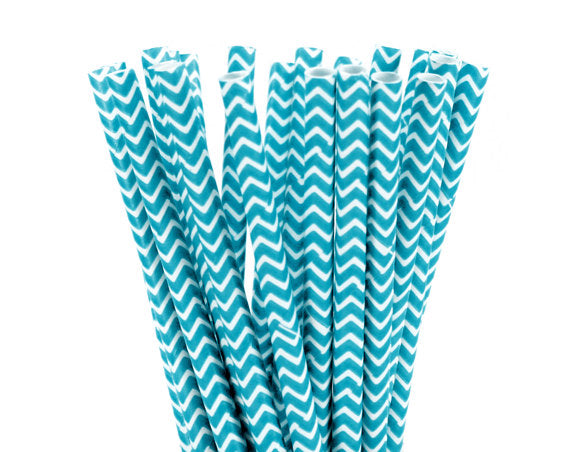 White ZigZag Teal Straws-POPALOONPARTY