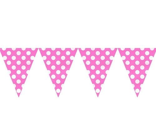 Dots Flag Banner Hot Pink-POPALOONPARTY