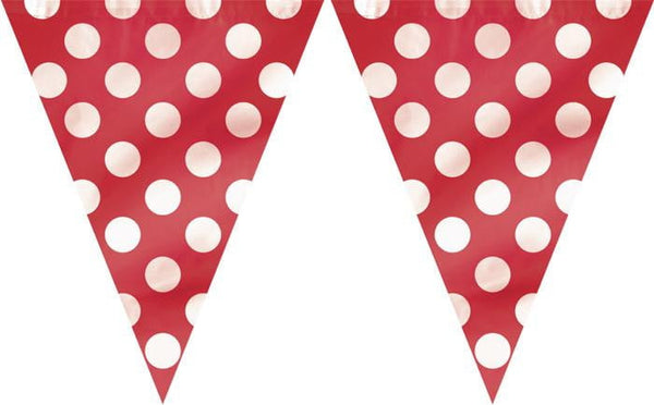 Dots Flag Banner Red-POPALOONPARTY