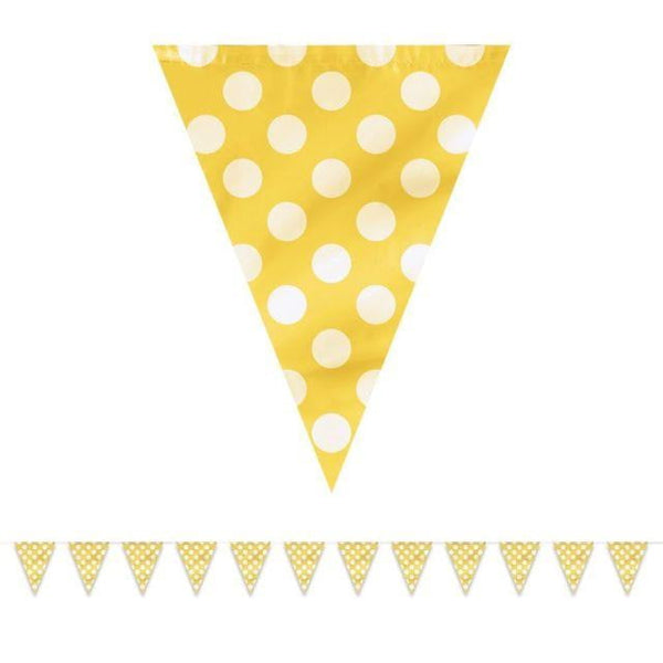 Dots Flag Banner Yellow-POPALOONPARTY