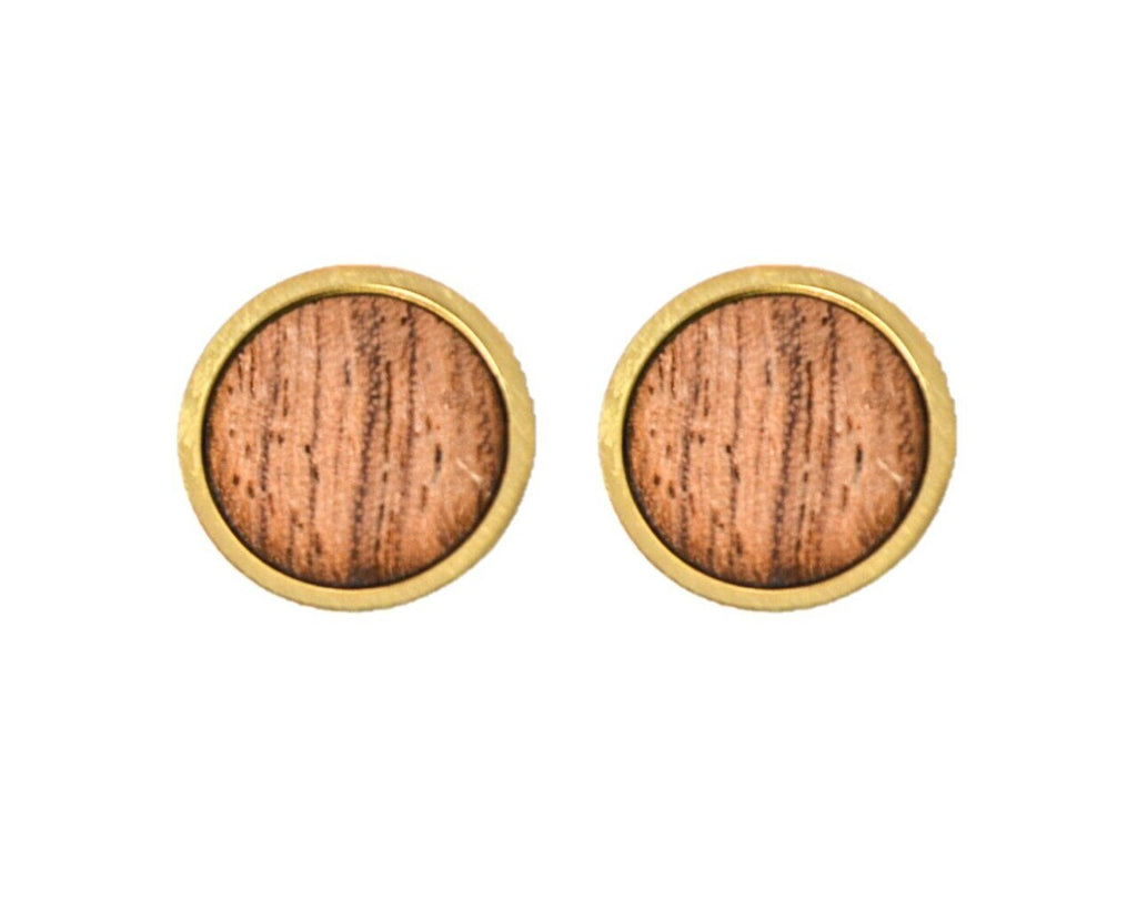 Wood Earrings in Gold