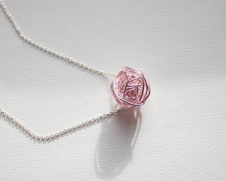 Sterling Silver and Rose Gold Knot Necklace