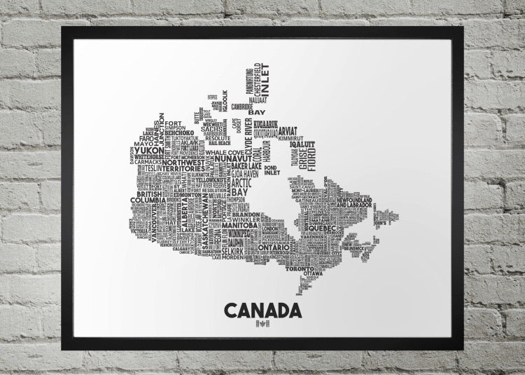 Canada cities map print