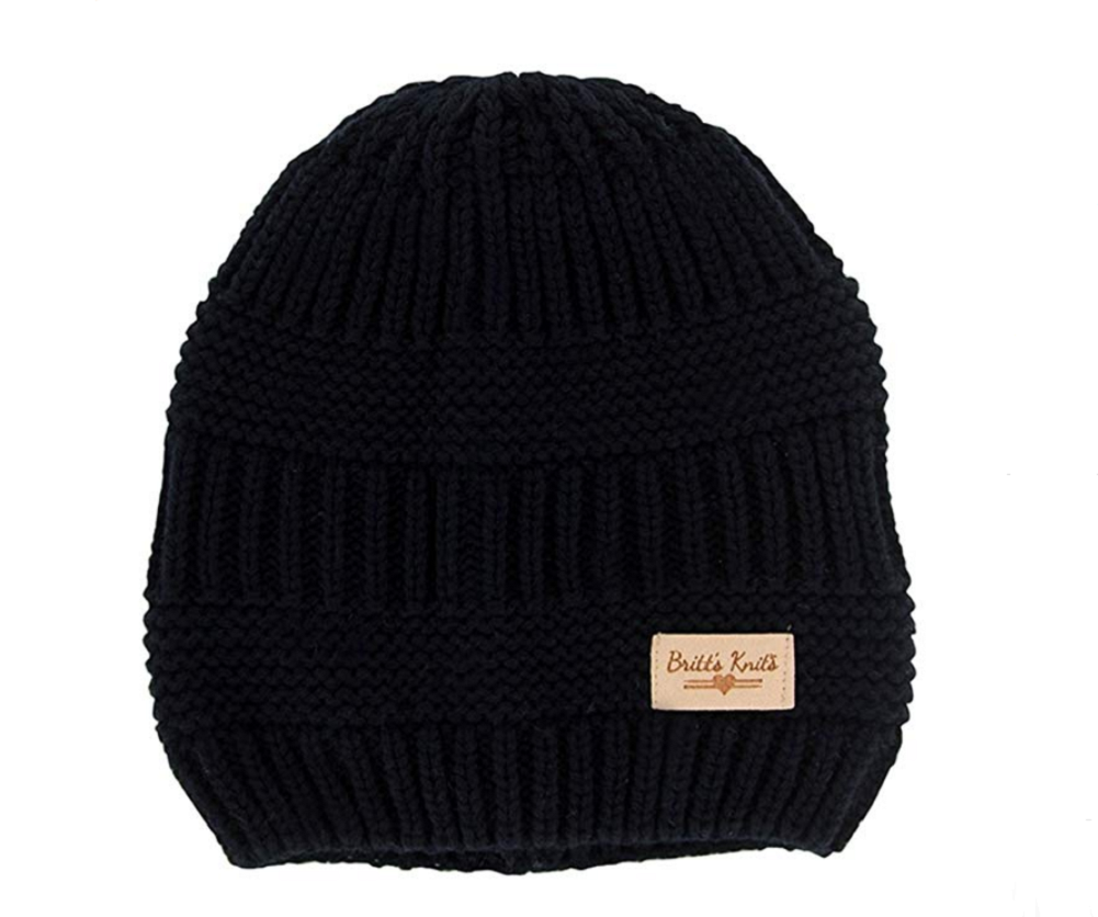 Solid black beanie