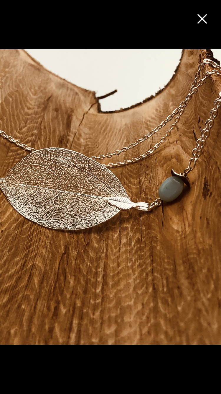 Real Silver Leaf Necklace