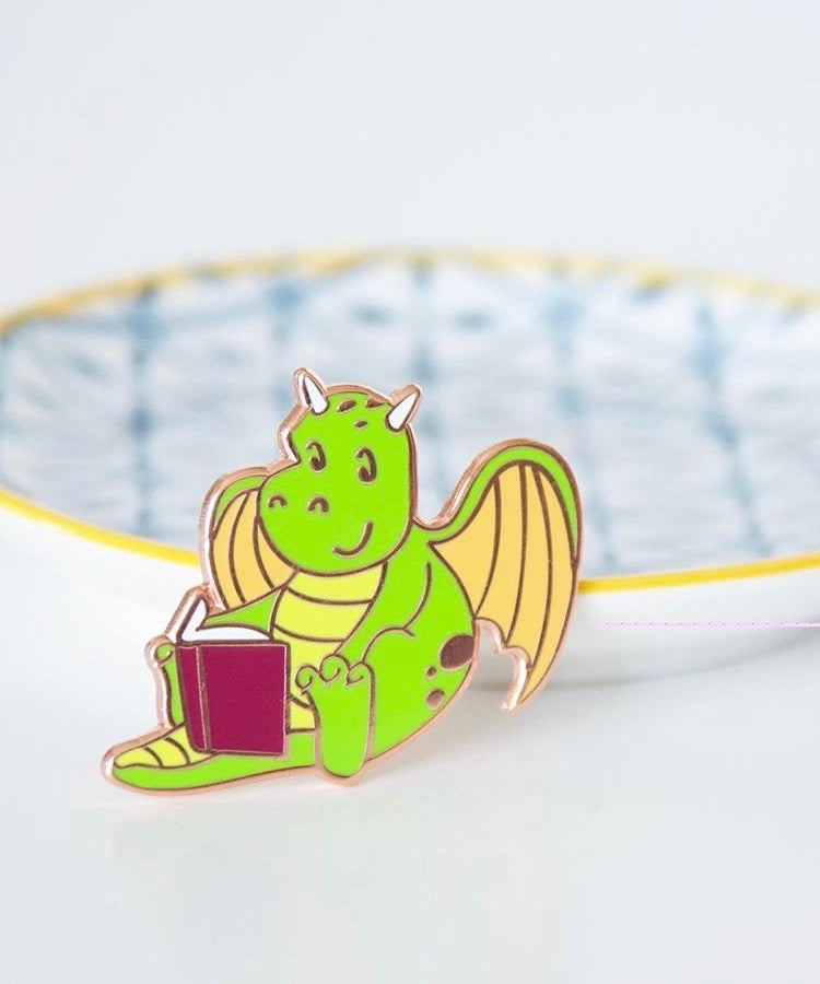 Dragon Reading Enamel Pin