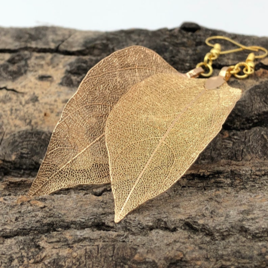 Real Leaf Gold Earring