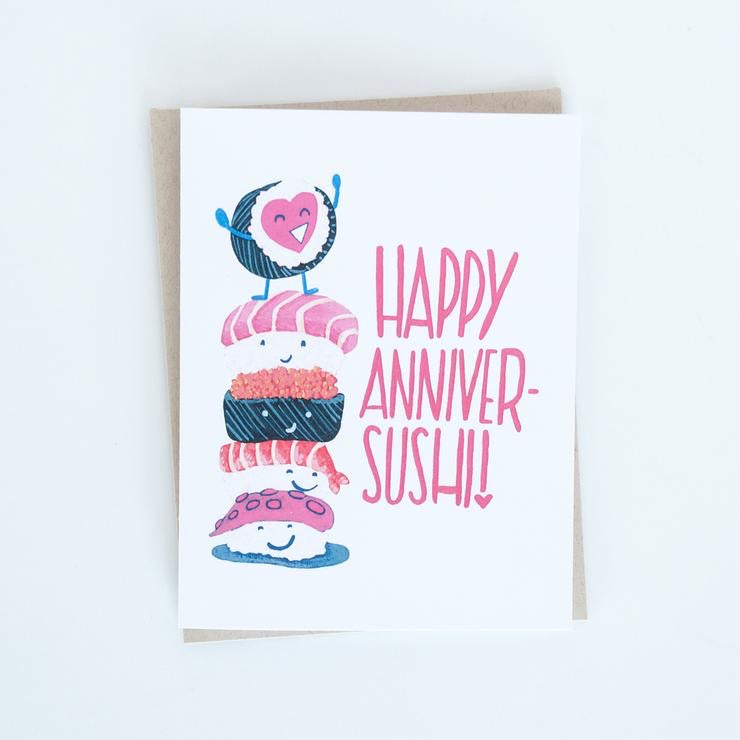 Happy Anniver-sushi Card