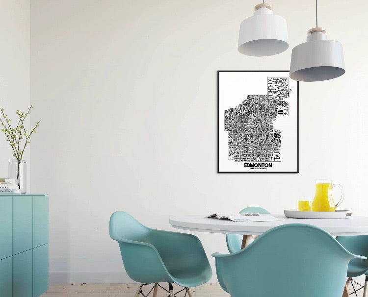 Edmonton neighbourhood map print