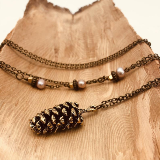 Bronze Pinecone Necklace