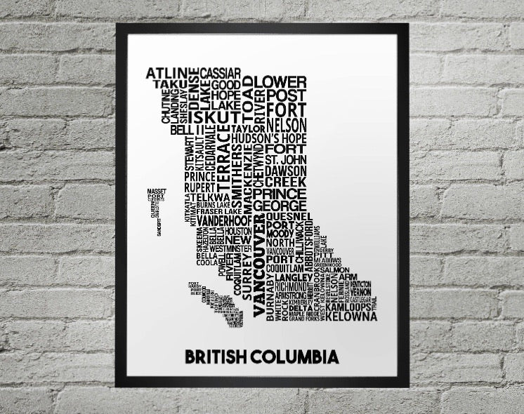 British Columbia cities map print