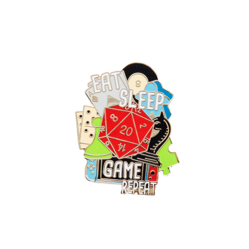 Eat Sleep Game Repeat Enamel Pin