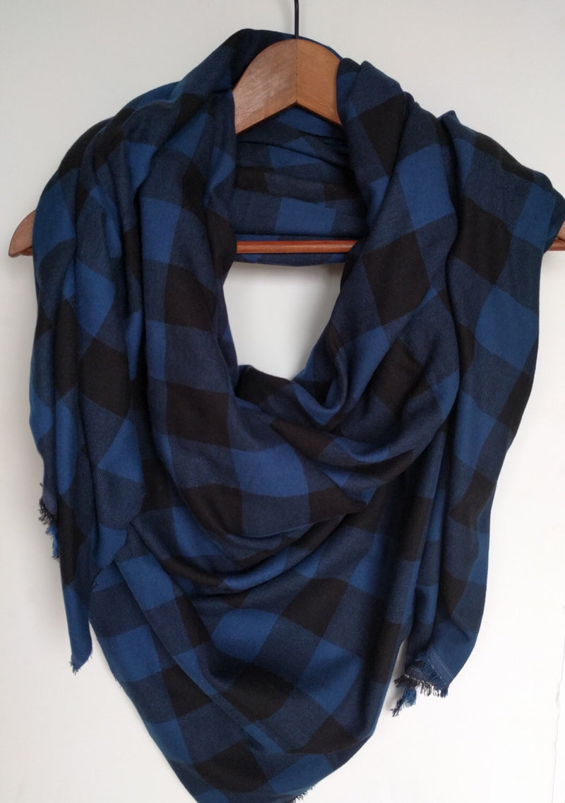 Blue and Black Plaid Blanket Scarf