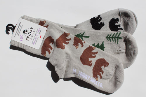 Bear and Trees Kids Socks (5-7yrs)