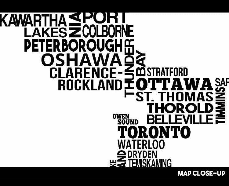 Ontario cities map print
