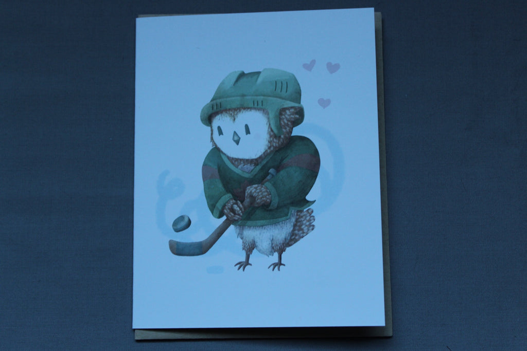 Hockey owl card by Hop N' Flop
