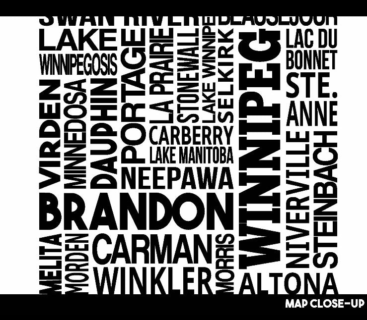 Manitoba cities map print