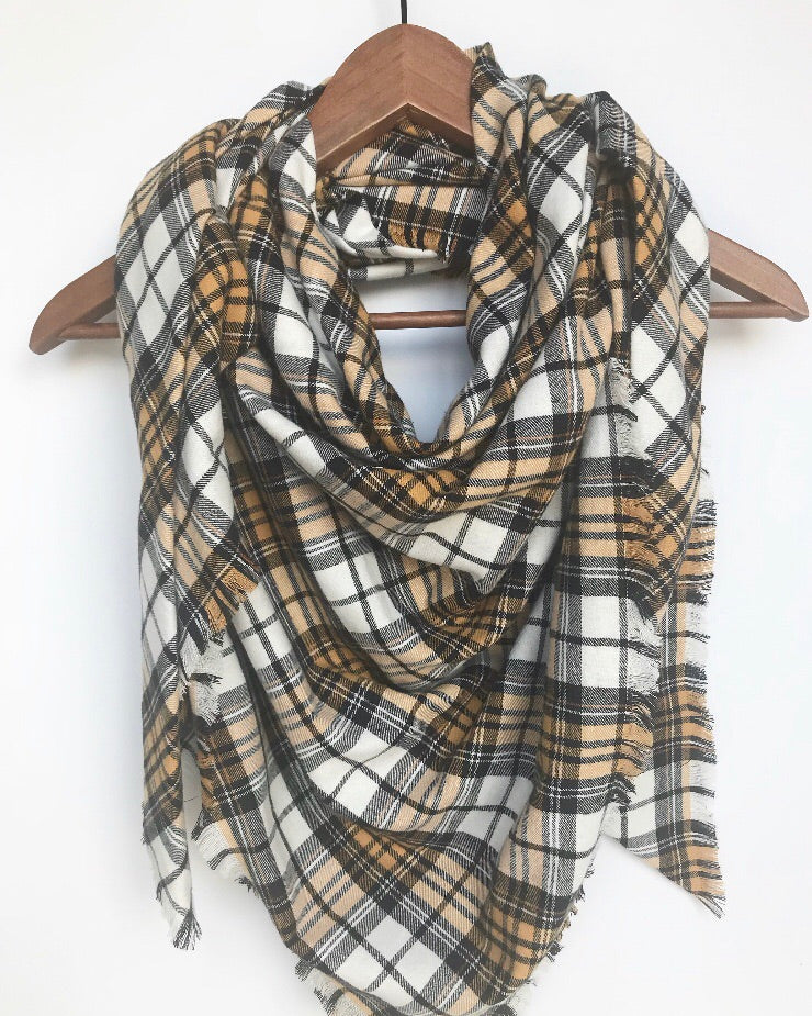 Yellow Mustard Plaid Blanket Scarf