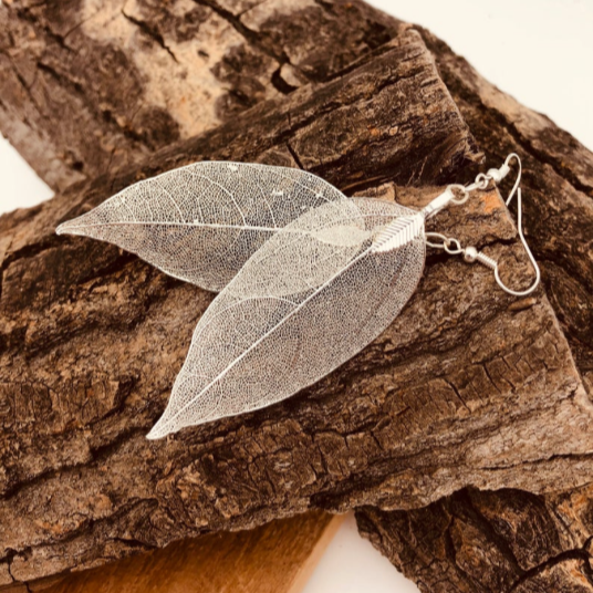 Real Leaf Silver Earring