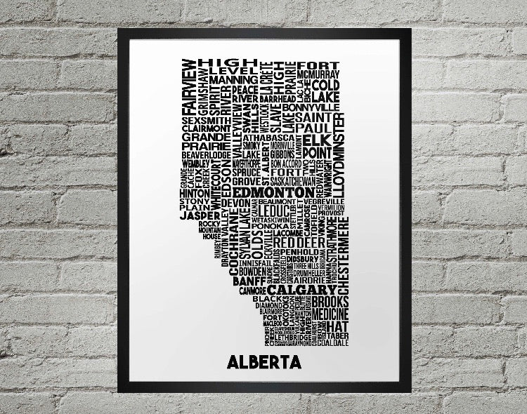 Alberta cities map print