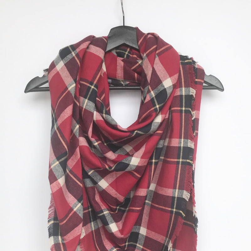 Red and Black Plaid Blanket Scarf