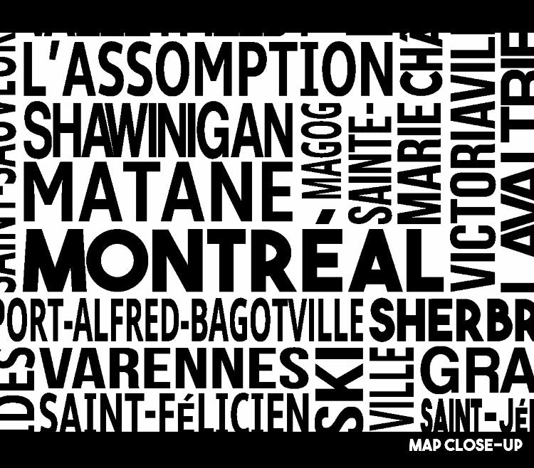 Quebec cities map print