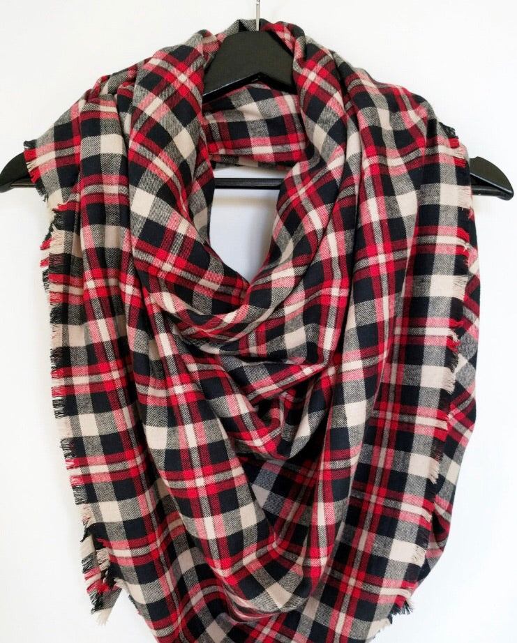 Red, Tan and Black Plaid Blanket Scarf