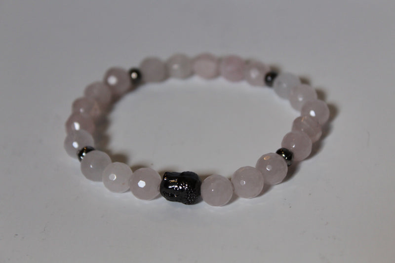 Rose Quartz and Buddha Bead Bracelet