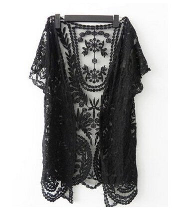 Cover-Up Crochet, Blouse (Black, Beige)