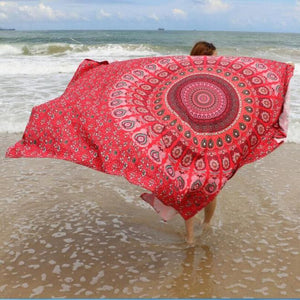 Red Printed Beach Cover Up