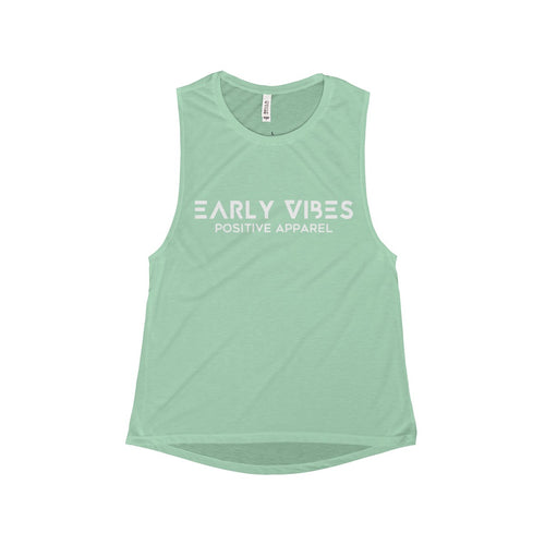 Early Vibes Flowy Scoop Muscle Tank - White Lettering