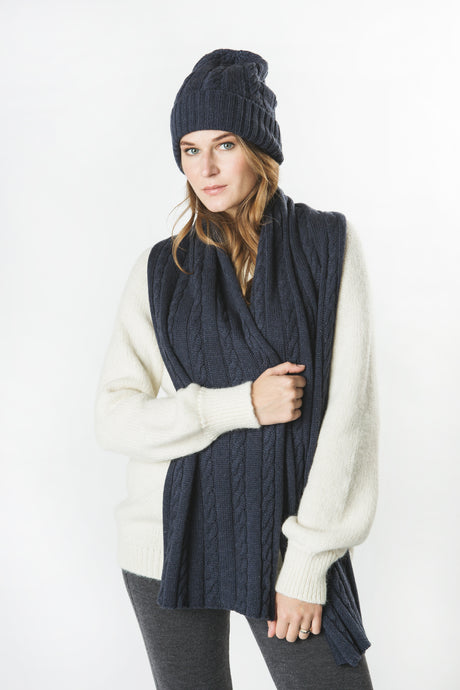 Wool Cashmere Plaited Hat and Scarf