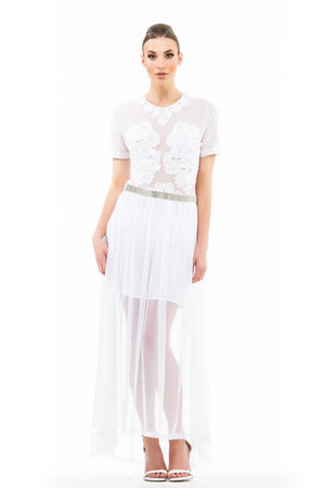 Beaded Net Maxi Skirt - White