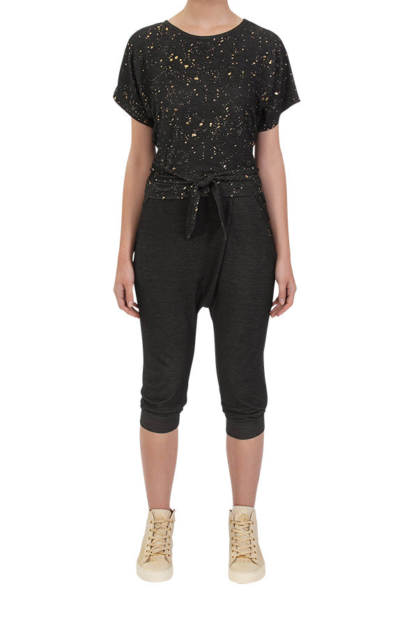 Powdered Cropped Harem Pants - Black Denim