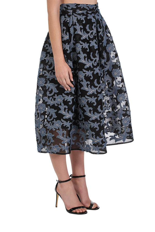 Forget Me Not Skirt - Black/Denim