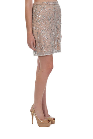 Amplify Beaded Skirt - Champagne Silver